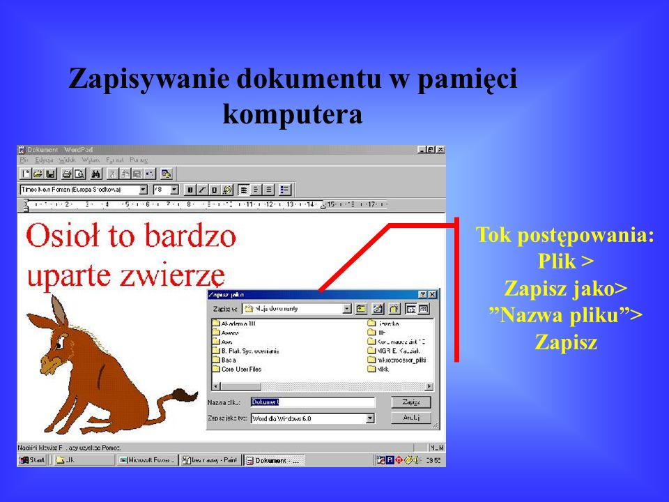 Zapisywanie dokumentu w pamięci komputera