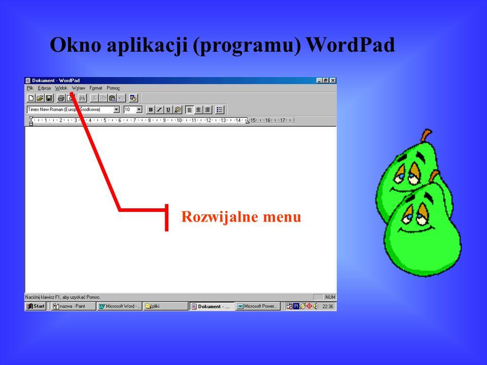 Okno aplikacji (programu) WordPad