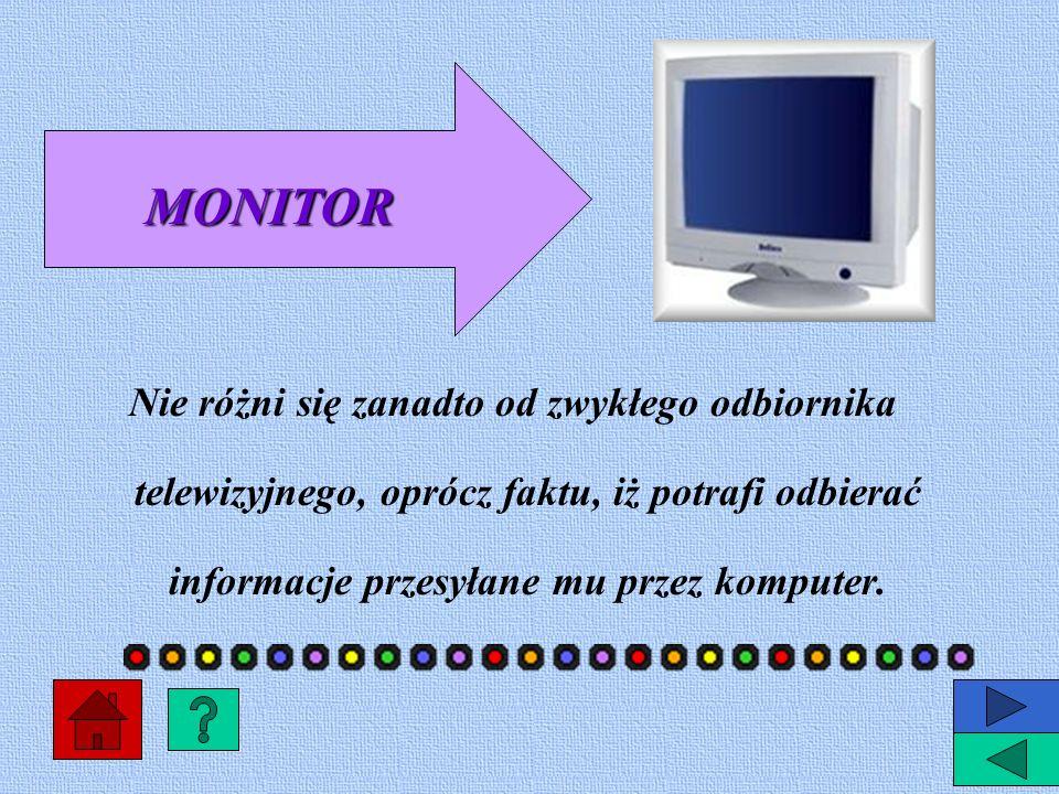 MONITOR Nie różni się zanadto od zwykłego odbiornika telewizyjnego, oprócz faktu, iż potrafi odbierać informacje przesyłane mu przez komputer.