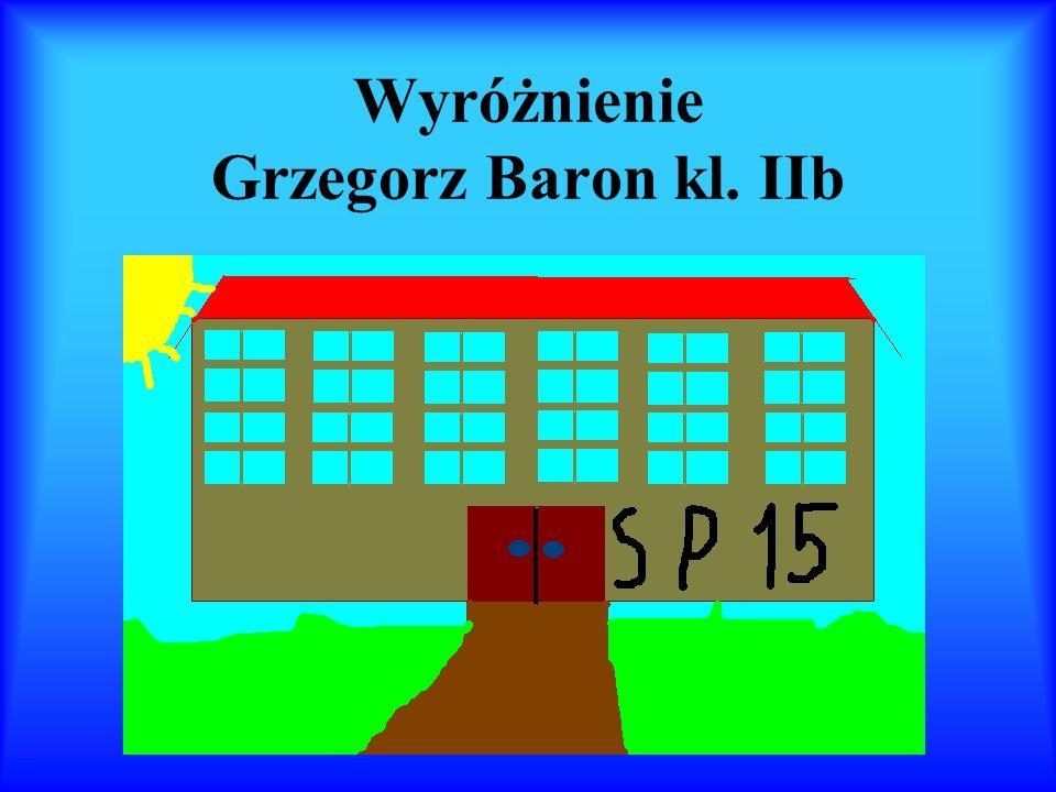 Wyróżnienie Grzegorz Baron kl. IIb