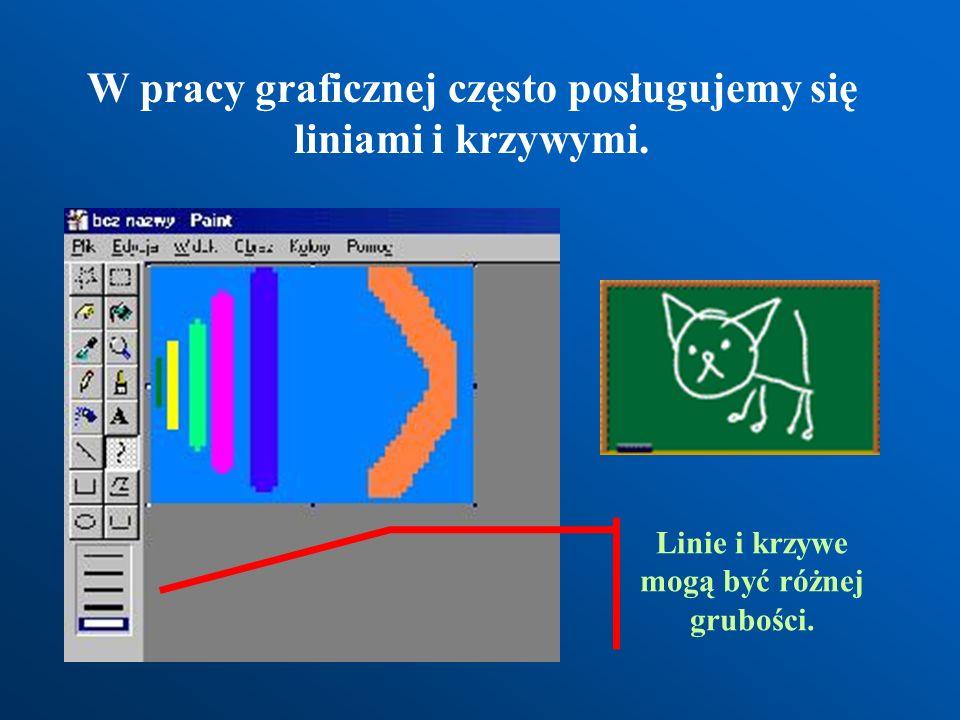W pracy graficznej często posługujemy się liniami i krzywymi.