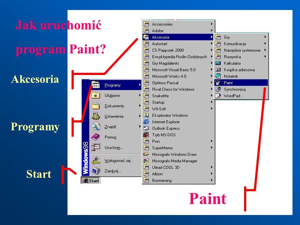 Jak uruchomić program Paint Akcesoria Programy Start Paint