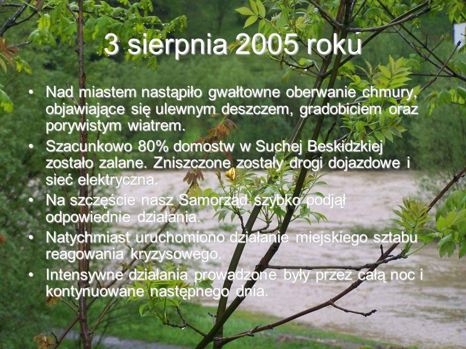 3 sierpnia 2005 roku Nad miastem nastąpiło gwałtowne oberwanie chmury, objawiające się ulewnym deszczem, gradobiciem oraz porywistym wiatrem.