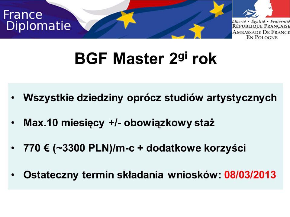 BGF Master 2gi rok Wszystkie dziedziny oprócz studiów artystycznych