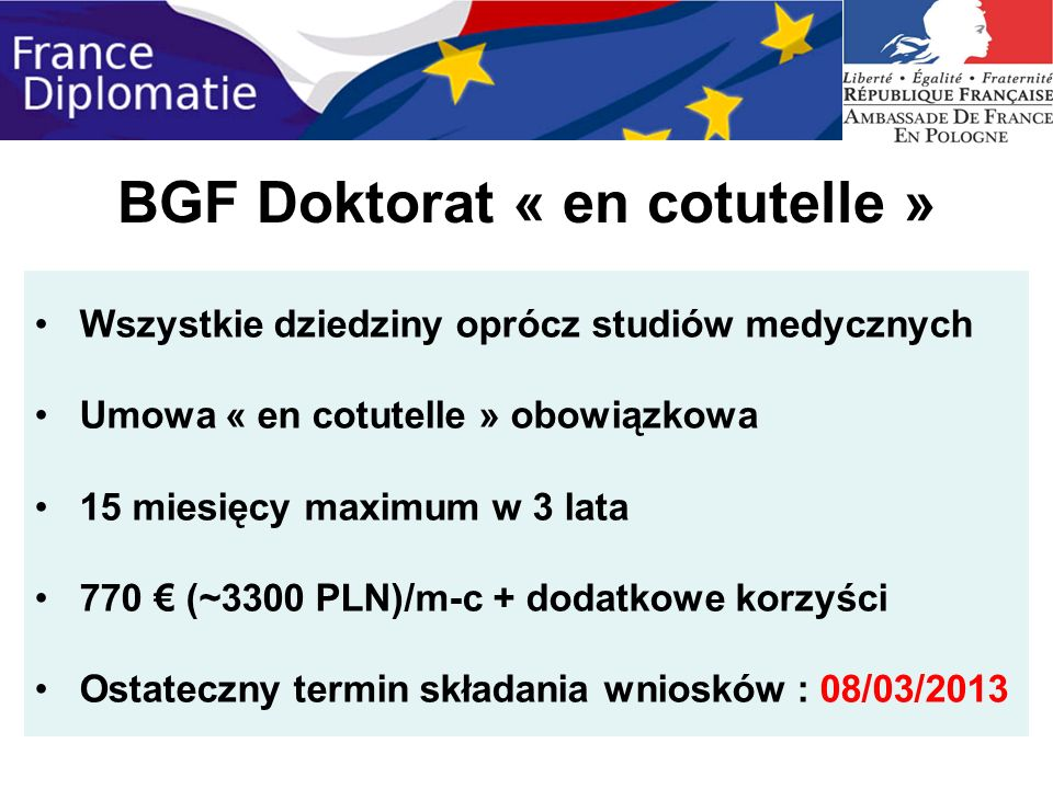 BGF Doktorat « en cotutelle »
