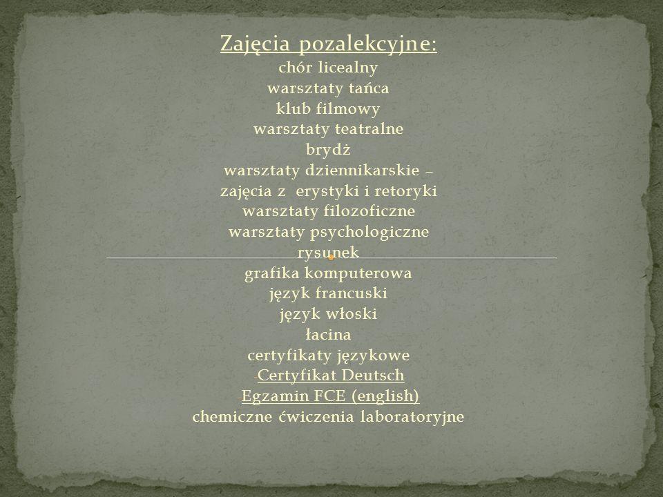 Zajęcia pozalekcyjne: