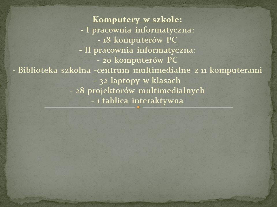 Komputery w szkole: - I pracownia informatyczna: - 18 komputerów PC - II pracownia informatyczna: - 20 komputerów PC - Biblioteka szkolna -centrum multimedialne z 11 komputerami - 32 laptopy w klasach - 28 projektorów multimedialnych - 1 tablica interaktywna