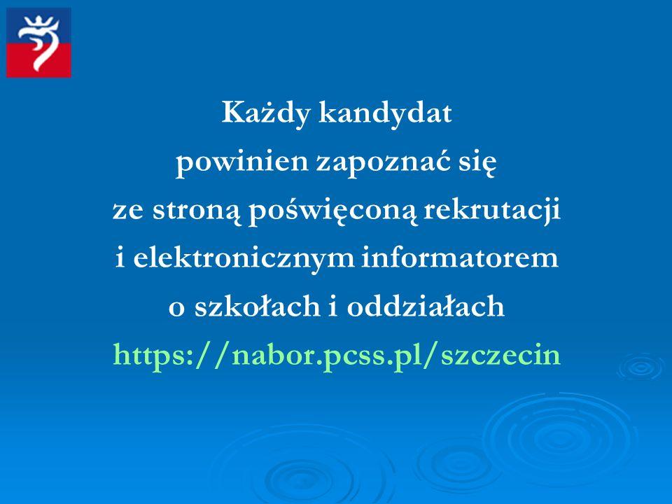 ze stroną poświęconą rekrutacji i elektronicznym informatorem