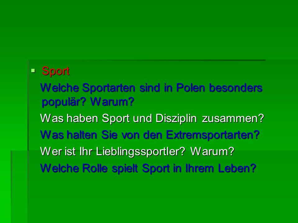 Sport Welche Sportarten sind in Polen besonders populär Warum Was haben Sport und Disziplin zusammen