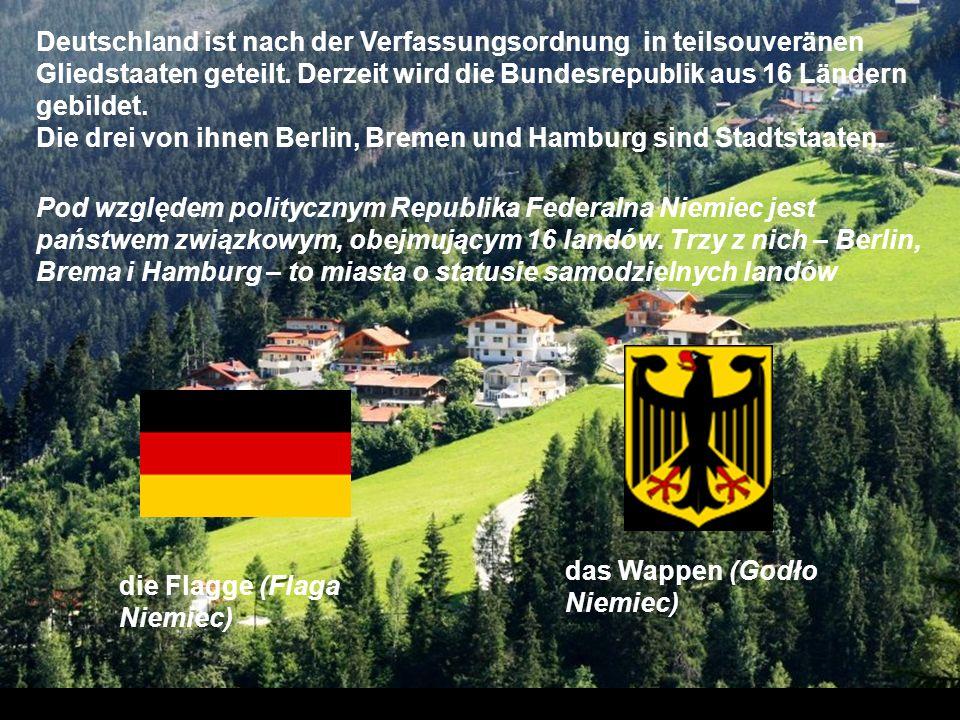 Deutschland ist nach der Verfassungsordnung in teilsouveränen Gliedstaaten geteilt. Derzeit wird die Bundesrepublik aus 16 Ländern gebildet.