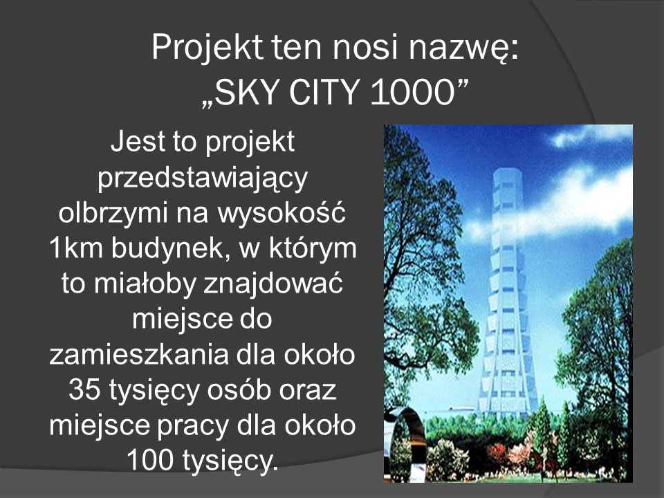 "Projekt ten nosi nazwę: ""SKY CITY 1000"