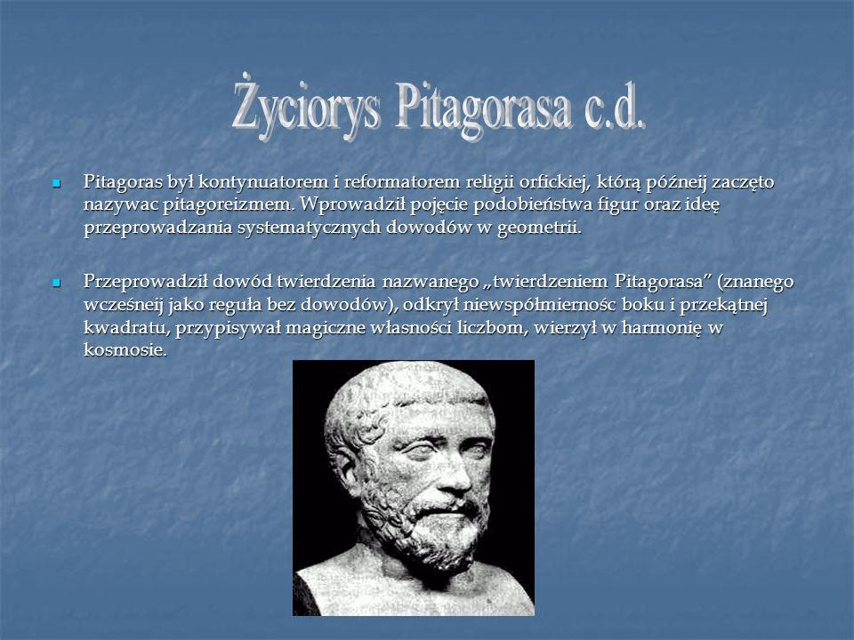 Życiorys Pitagorasa c.d.