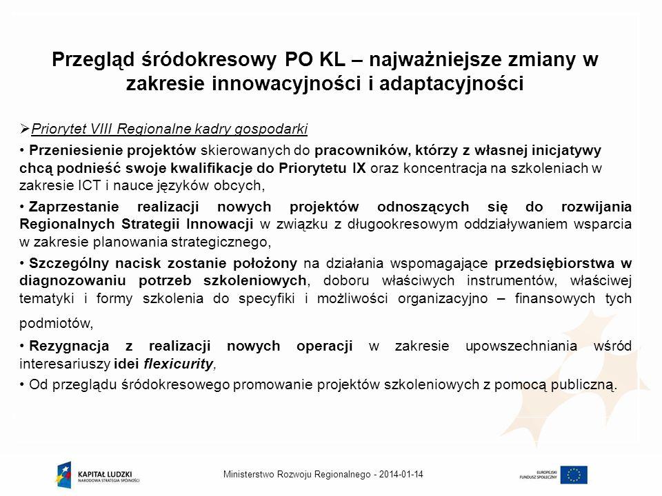 Przegląd śródokresowy PO KL – najważniejsze zmiany w zakresie innowacyjności i adaptacyjności