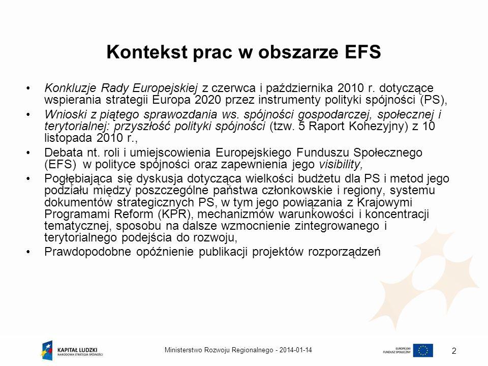Kontekst prac w obszarze EFS