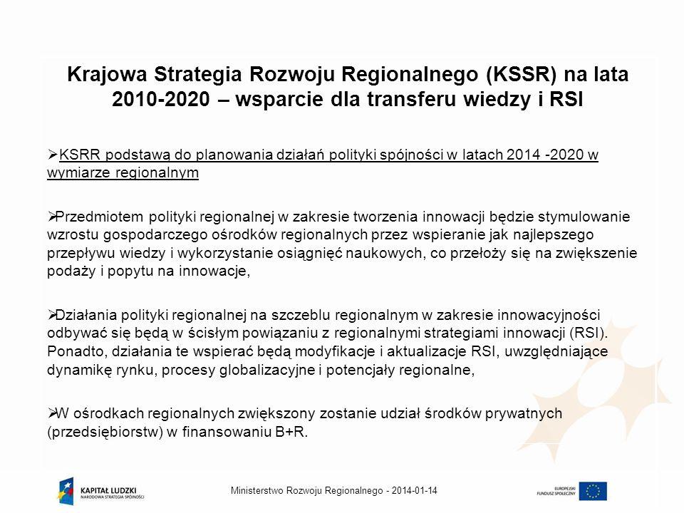 Krajowa Strategia Rozwoju Regionalnego (KSSR) na lata 2010-2020 – wsparcie dla transferu wiedzy i RSI