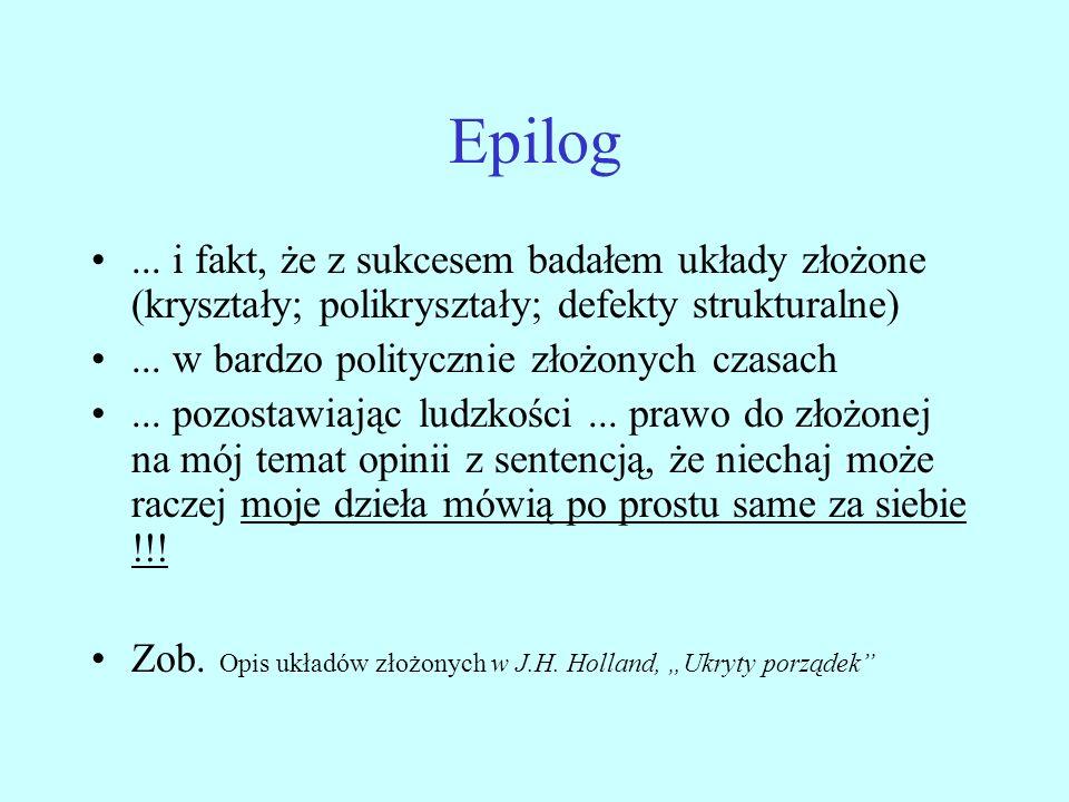 Epilog ... i fakt, że z sukcesem badałem układy złożone (kryształy; polikryształy; defekty strukturalne)