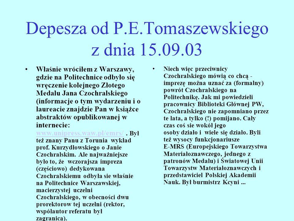 Depesza od P.E.Tomaszewskiego z dnia 15.09.03