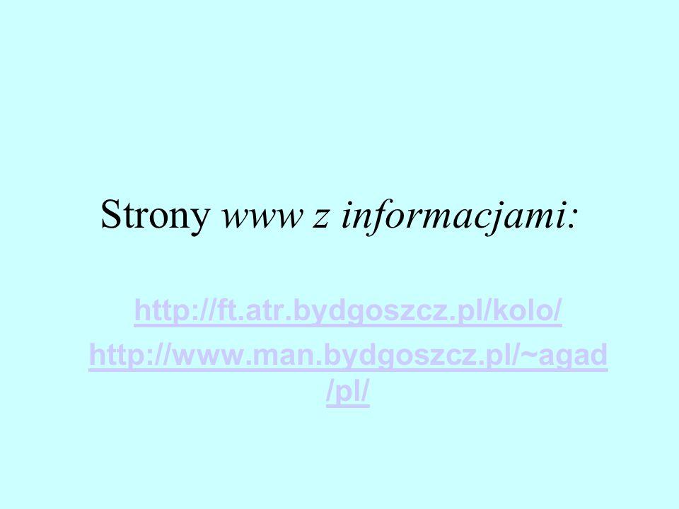 Strony www z informacjami: