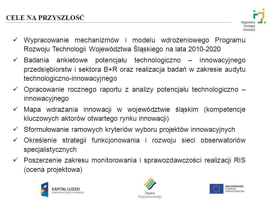 CELE NA PRZYSZŁOŚĆWypracowanie mechanizmów i modelu wdrożeniowego Programu Rozwoju Technologii Województwa Śląskiego na lata 2010-2020.