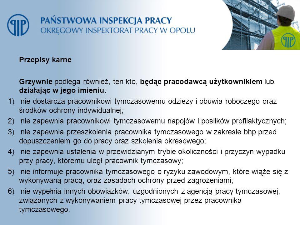 Przepisy karne Grzywnie podlega również, ten kto, będąc pracodawcą użytkownikiem lub działając w jego imieniu:
