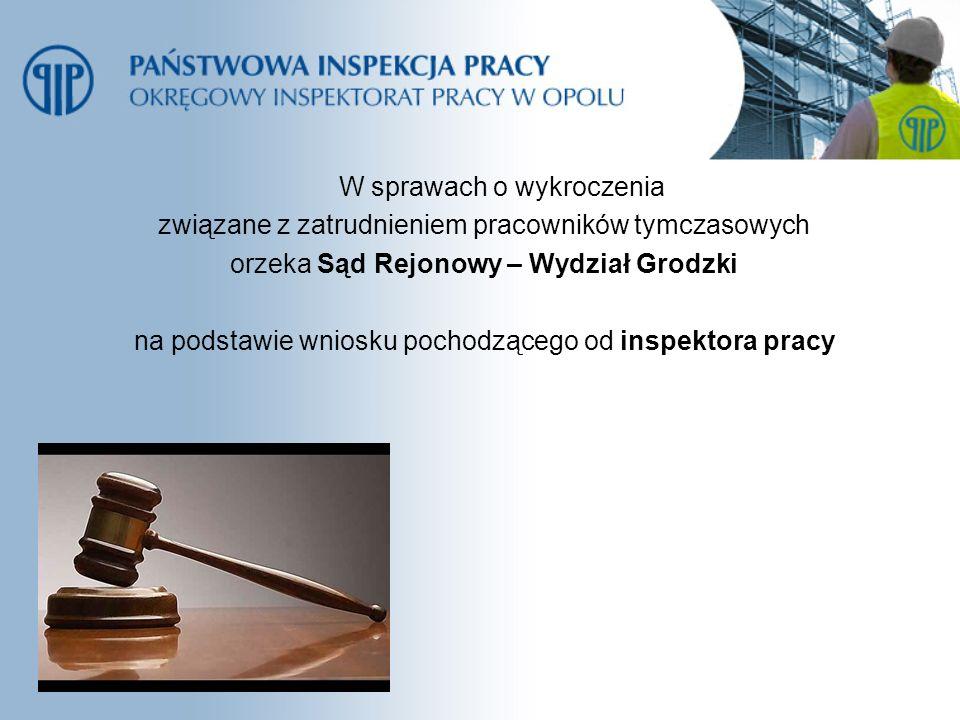 W sprawach o wykroczenia związane z zatrudnieniem pracowników tymczasowych orzeka Sąd Rejonowy – Wydział Grodzki na podstawie wniosku pochodzącego od inspektora pracy