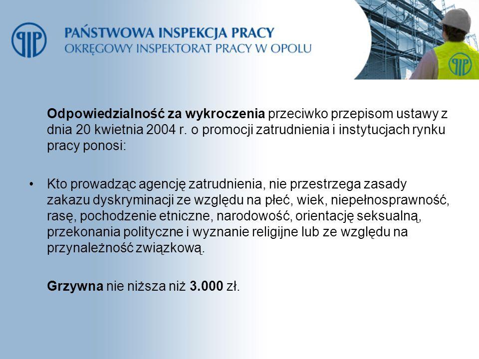 Odpowiedzialność za wykroczenia przeciwko przepisom ustawy z dnia 20 kwietnia 2004 r. o promocji zatrudnienia i instytucjach rynku pracy ponosi: