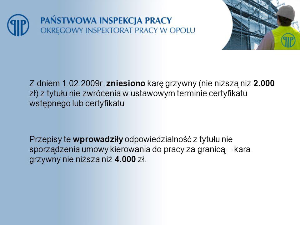 Z dniem 1. 02. 2009r. zniesiono karę grzywny (nie niższą niż 2