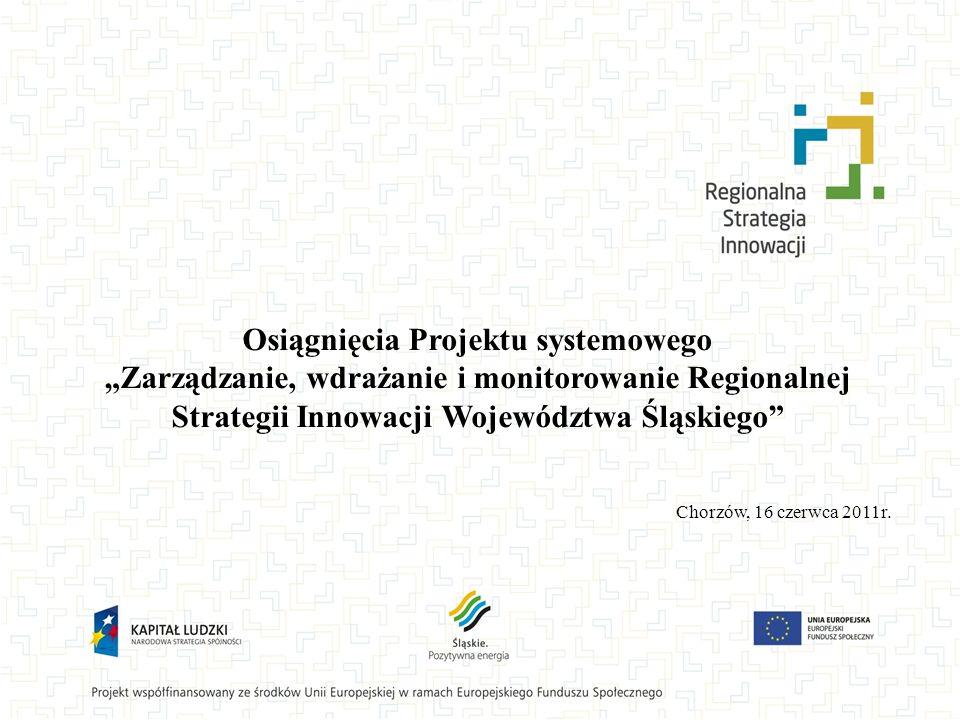 """Osiągnięcia Projektu systemowego """"Zarządzanie, wdrażanie i monitorowanie Regionalnej Strategii Innowacji Województwa Śląskiego"""