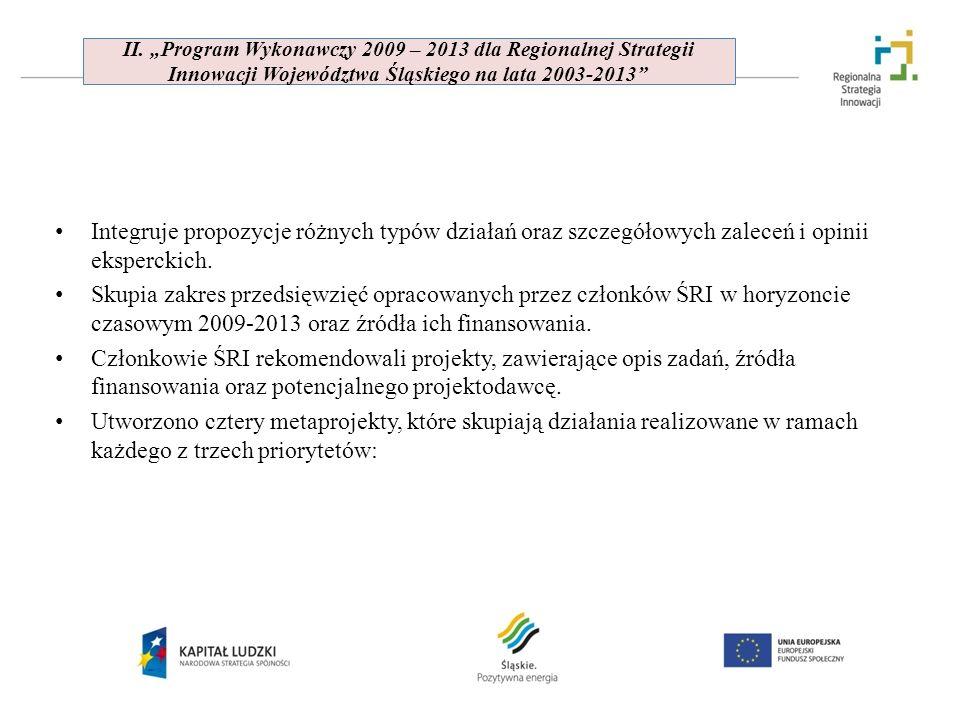 """II. """"Program Wykonawczy 2009 – 2013 dla Regionalnej Strategii Innowacji Województwa Śląskiego na lata 2003-2013"""
