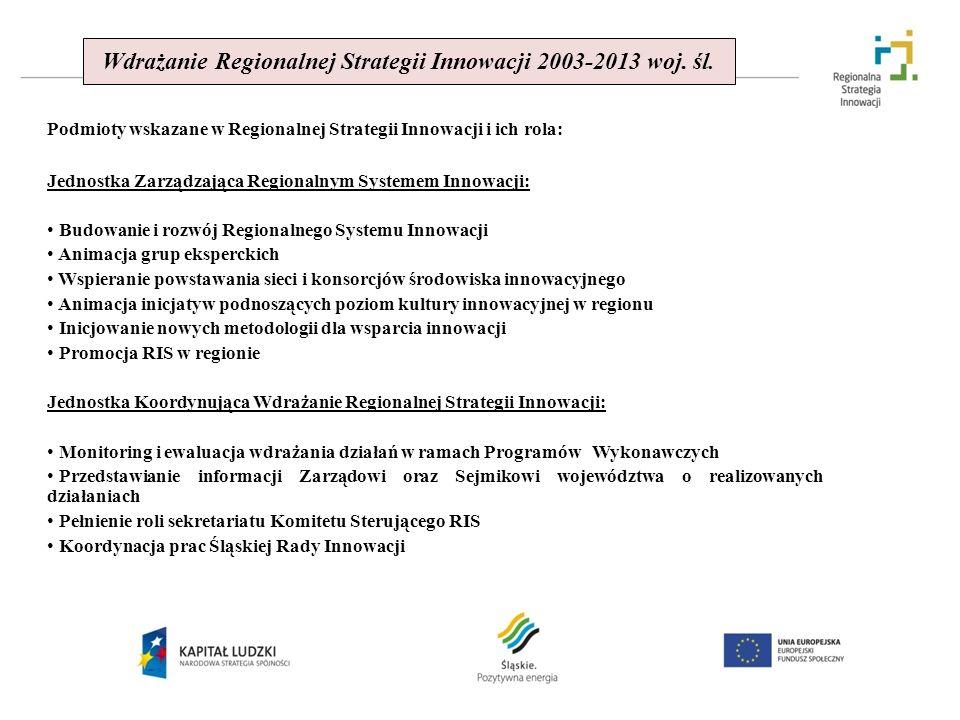 Wdrażanie Regionalnej Strategii Innowacji 2003-2013 woj. śl.