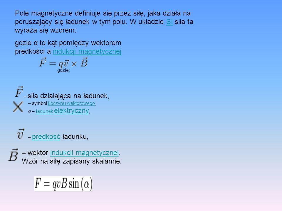 gdzie α to kąt pomiędzy wektorem prędkości a indukcji magnetycznej