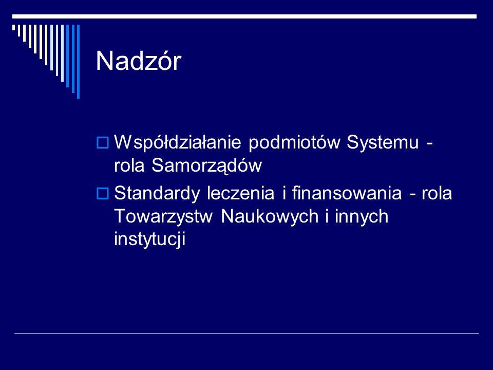 Nadzór Współdziałanie podmiotów Systemu - rola Samorządów
