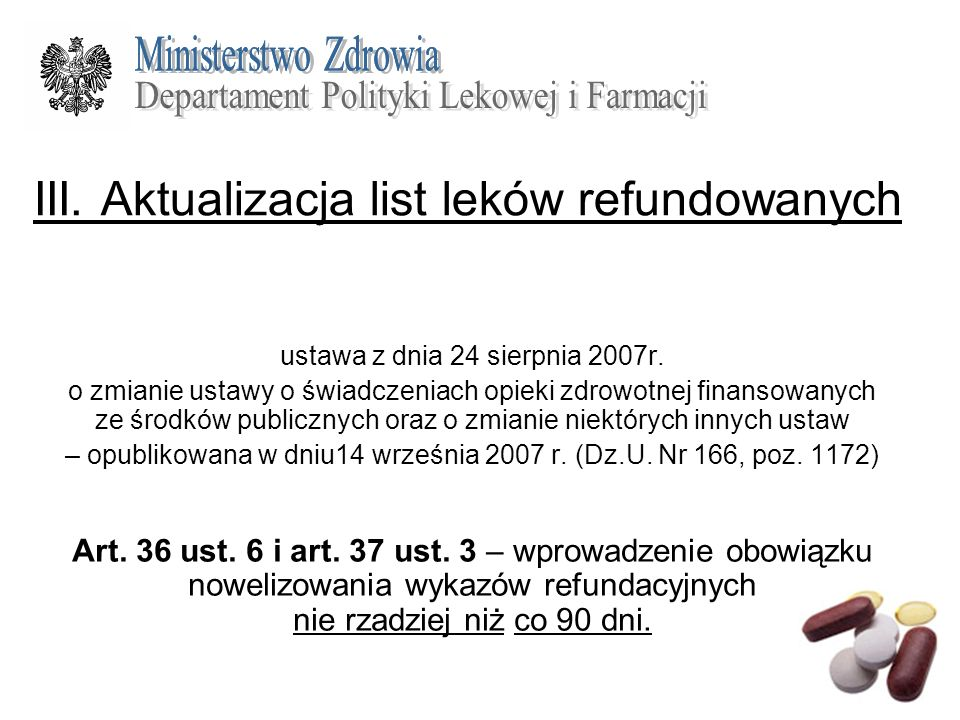 III. Aktualizacja list leków refundowanych