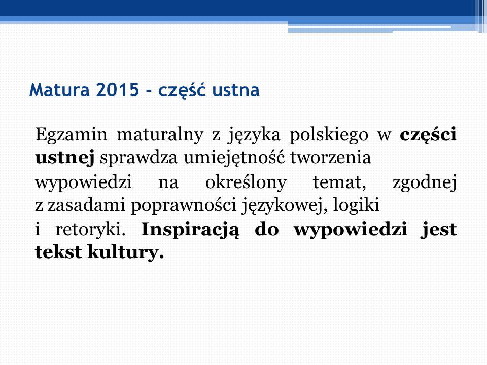 Matura 2015 - część ustna