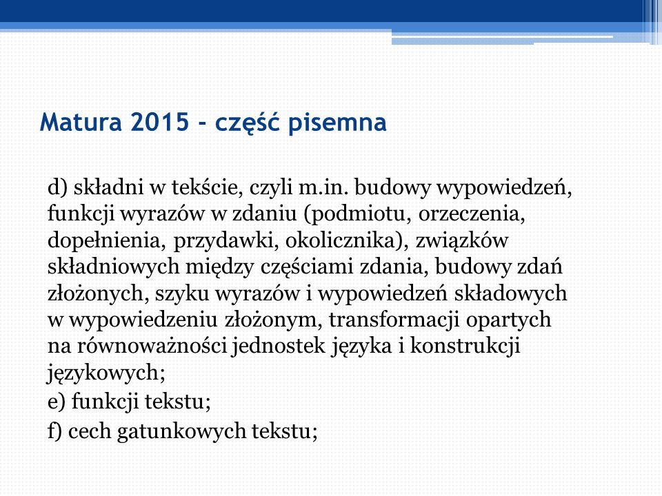 Matura 2015 - część pisemna