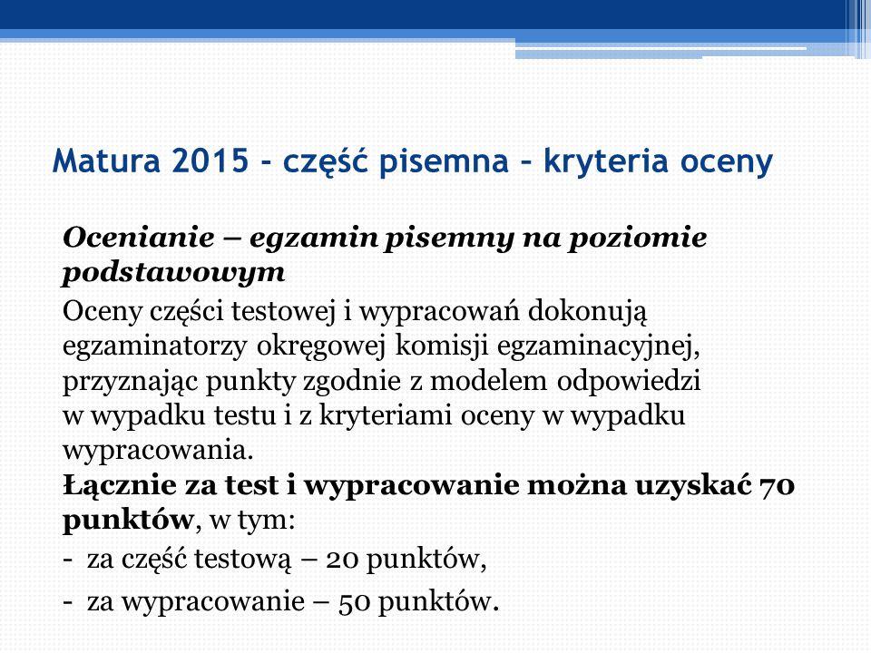 Matura 2015 - część pisemna – kryteria oceny