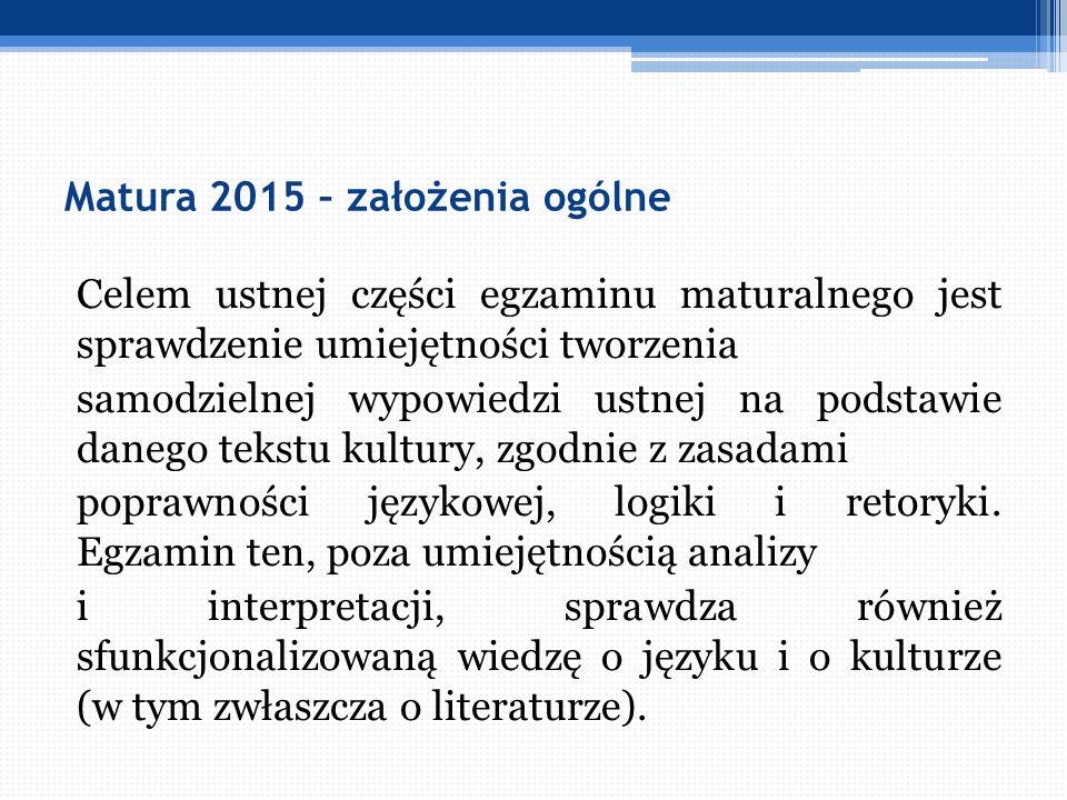 Matura 2015 – założenia ogólne