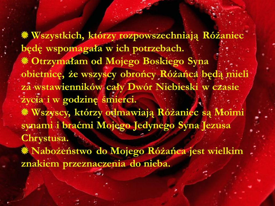 Wszystkich, którzy rozpowszechniają Różaniec będę wspomagała w ich potrzebach.