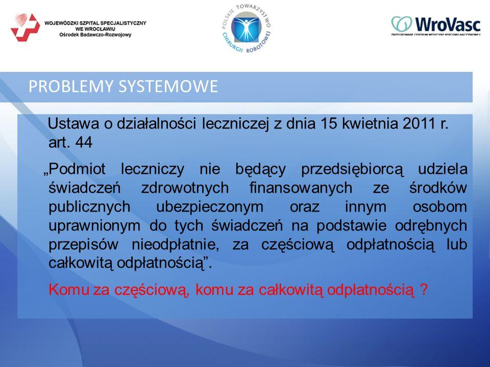 PROBLEMY SYSTEMOWE Ustawa o działalności leczniczej z dnia 15 kwietnia 2011 r. art. 44.