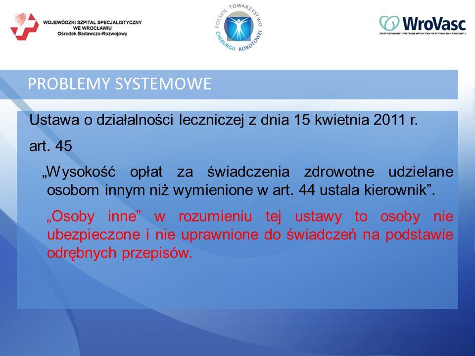 PROBLEMY SYSTEMOWE Ustawa o działalności leczniczej z dnia 15 kwietnia 2011 r. art. 45.