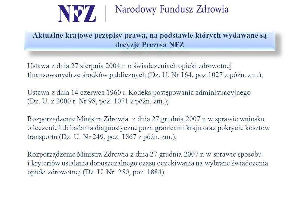 Aktualne krajowe przepisy prawa, na podstawie których wydawane są decyzje Prezesa NFZ