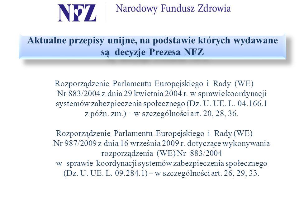 Aktualne przepisy unijne, na podstawie których wydawane są decyzje Prezesa NFZ