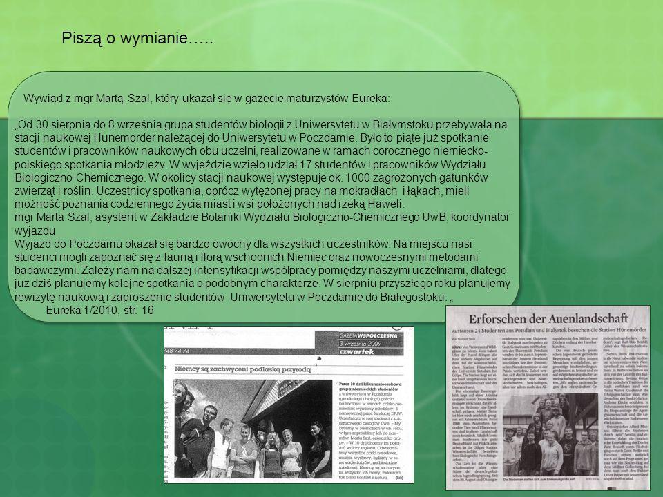 Piszą o wymianie….. Wywiad z mgr Martą Szal, który ukazał się w gazecie maturzystów Eureka: