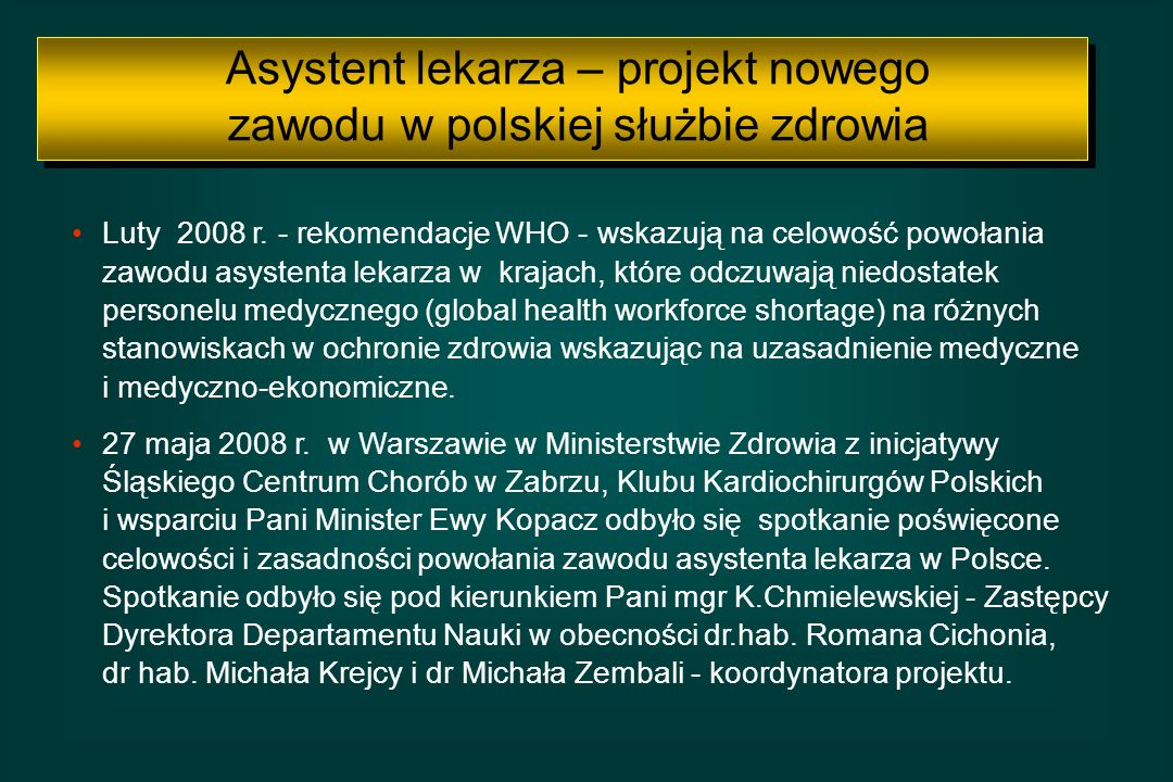 Asystent lekarza – projekt nowego zawodu w polskiej służbie zdrowia