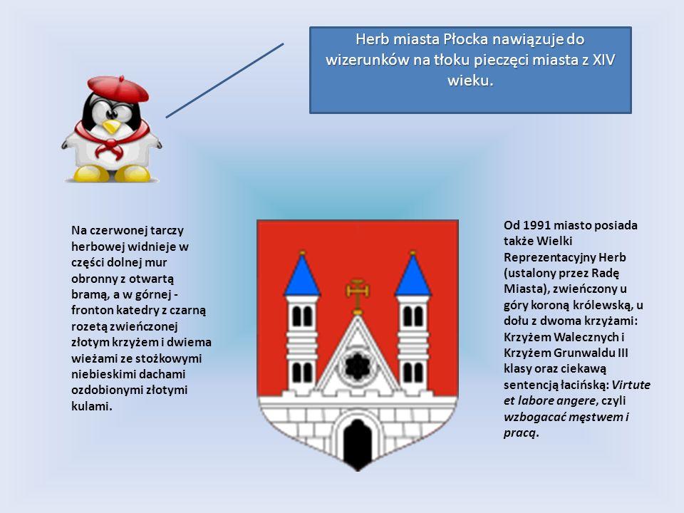 Herb miasta Płocka nawiązuje do wizerunków na tłoku pieczęci miasta z XIV wieku.