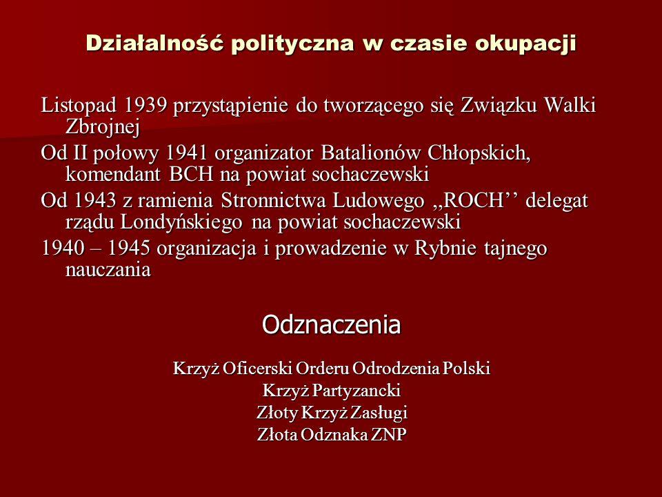 Działalność polityczna w czasie okupacji