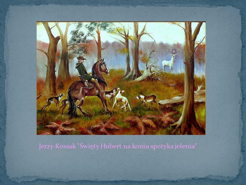 Jerzy Kossak Święty Hubert na koniu spotyka jelenia