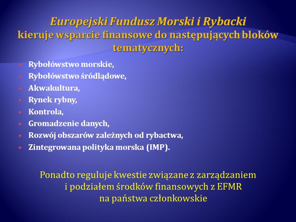 Europejski Fundusz Morski i Rybacki kieruje wsparcie finansowe do następujących bloków tematycznych: