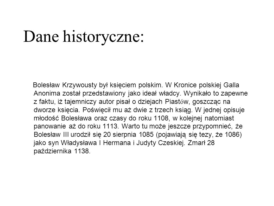 Dane historyczne: