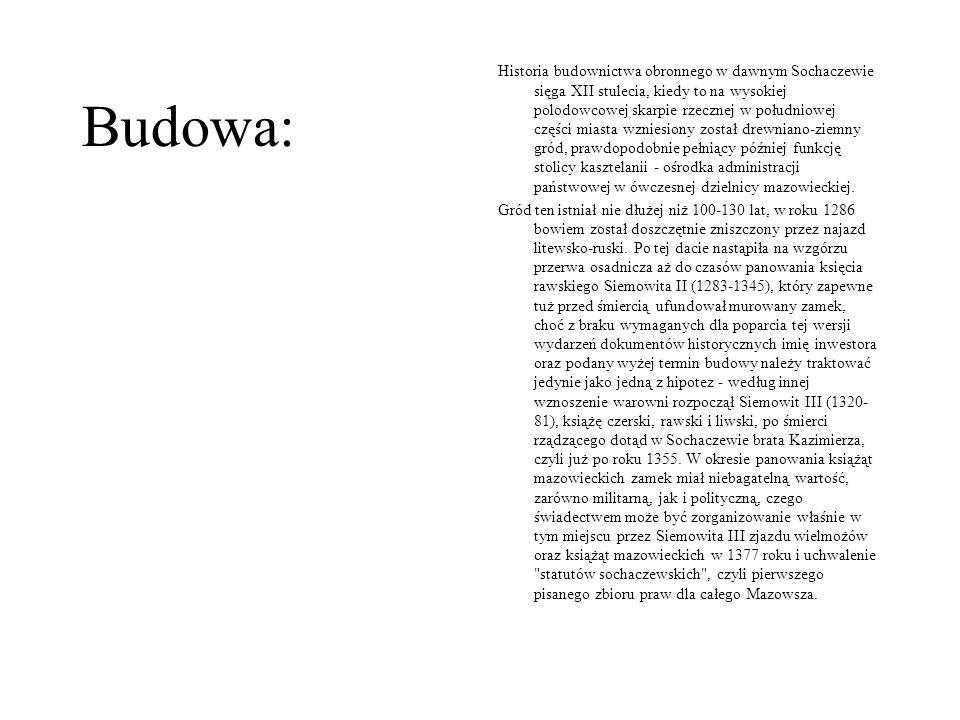 Historia budownictwa obronnego w dawnym Sochaczewie sięga XII stulecia, kiedy to na wysokiej polodowcowej skarpie rzecznej w południowej części miasta wzniesiony został drewniano-ziemny gród, prawdopodobnie pełniący później funkcję stolicy kasztelanii - ośrodka administracji państwowej w ówczesnej dzielnicy mazowieckiej.